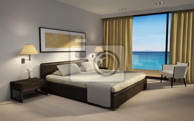 Chic Luxus Schlafzimmer 3d Rendering Mit Meerblick Fototapete