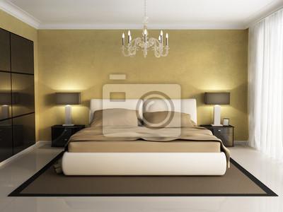 Chic luxushotel gold, braun, schlafzimmer, mit kronleuchter vor ...