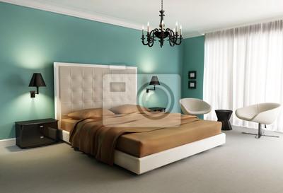 Kronleuchter Schlafzimmer ~ Chic luxushotel grün orange schlafzimmer mit kronleuchter