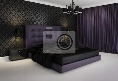 Kronleuchter Lila ~ Chic luxushotel lila schwarz schlafzimmer mit kronleuchter