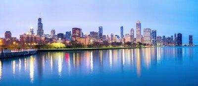 Fototapete Chicago downtown and Lake Michigan Panorama