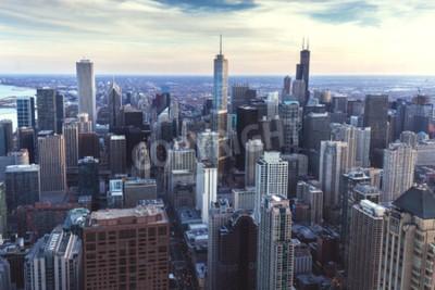 Fototapete Chicago Innenstadt Stadtbild mit Wolkenkratzern, Luft-oder Vogel-Augen-Ansicht, bewölkter Tag. Illinois, USA.