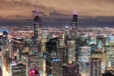 Fototapete Chicago Urban Luftbild in der Dämmerung