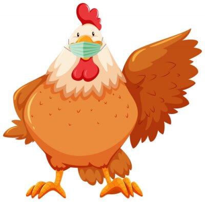 Chicken cartoon character wearing mask