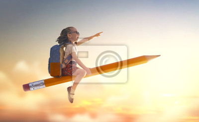 Fototapete child flying on a pencil
