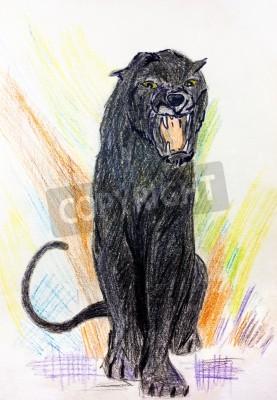 new arrival 7b6a9 41921 Fototapete: Child malerei von einem schwarzen puma oder panther brüllen
