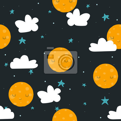 Fototapete Childish cute seamless pattern with moon, stars and cloud. Vector hand drawn illustration.