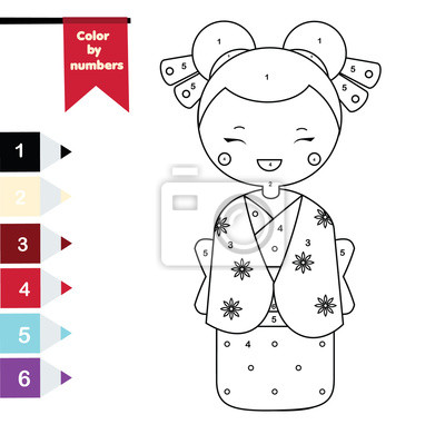 Fototapete: Children educational game. coloring page with japanese girl in