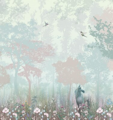Fototapete Children's wallpaper. Blue and pink forest. Fairy forest with horse and caliber.