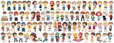 Fototapete Children with different nationalities on white background