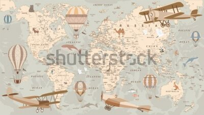 Fototapete childrens retro world map with animals airplanes and balloons