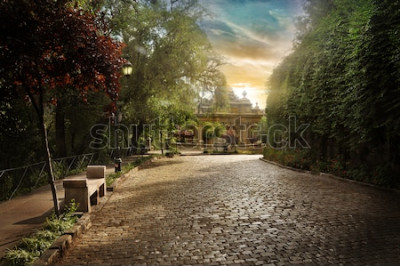 Fototapete Chilenische Parallelepipedstraße. Pflasterstraße in einem Park in der Innenstadt von Santiago.