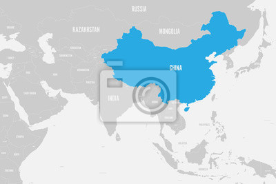 China blue marked in political map of southern asia. vector ...