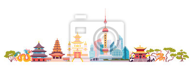 Fototapete China skyline colorful background. Famous China building. China hand drawn vector illustration. Chinese travel landmarks/attraction. Vector illustration isolated on white background