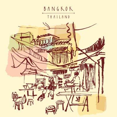 Fototapete China-Stadt in Bangkok, Thailand. Lebensmittelstände, Tische, Stühle. Leute, die chinesisches Essen in einem einfachen Straßencafe kaufen. Vertikale Vintage Hand gezeichnete Postkarte. Abbildung