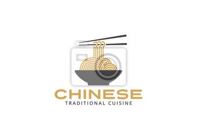 Logo Cuisine | Chinese Cuisine Logo Noodles Plate Design Asian Japanese Fototapete