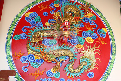 Chinese dragon with colorful statue.