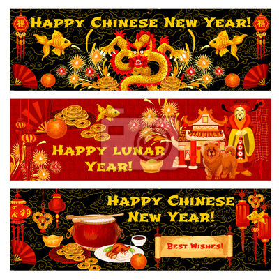 Chinese lunar neujahr urlaub gruß banner fototapete • fototapeten ...
