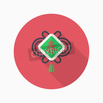 Chinese new year-symbol, vector flachen langen schatten design ...