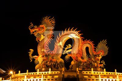 Fototapete Chinesische Art Drache Statue. Nachtlicht.