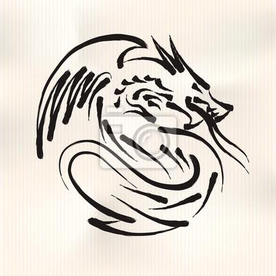 Chinesische Kalligraphie des Drache, Vektor-Illustration eps10.