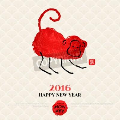 Chinesische neujahrskarte mit handgezeichneten affen. symbol ...