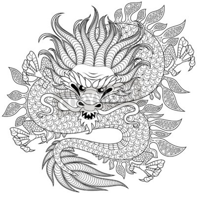 chinesischer drache im zentangle stil f r tattoo adult antistress fototapete fototapeten. Black Bedroom Furniture Sets. Home Design Ideas