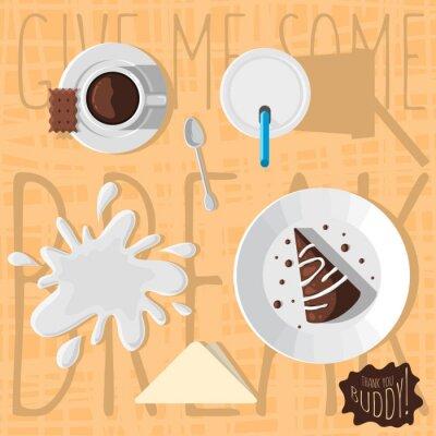 Chocolate Cake With Glaze, Paper Mug Of Milk, Cup of Coffee.