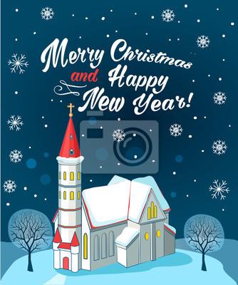 Christliche Bilder Weihnachten.Fototapete Christliche Kirche Mit Text Frohe Weihnachten Und Guten Rutsch