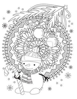 Fototapete: Christmas coloring page. adult coloring book. cute snowman with