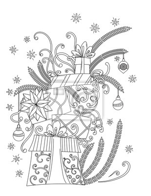Fototapete: Christmas coloring pages. coloring book for adults. pile of  holiday