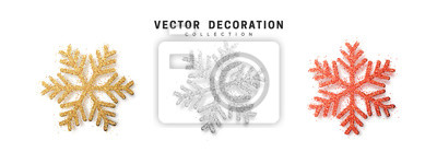 Fototapete Christmas decoration, golden and silver and bright red glitter covered snowflake.