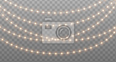 Fototapete Christmas garland isolated on transparent background. Glowing yellow light bulbs with sparkles. Xmas, New Year, wedding or Birthday decor. Party event decoration. Winter holiday season element.