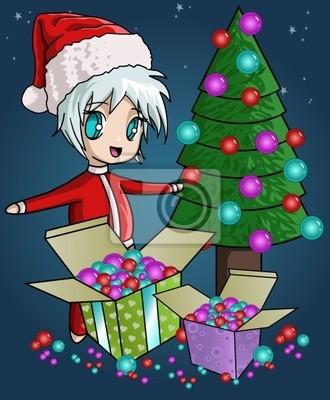 Christmas gift box mit santa und weihnachtsbaum fototapete ...