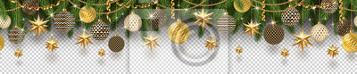 Fototapete Christmas golden decoration and Christmas tree branches on a checkered background. Can be used on any background. Seamless frieze. Vector illustration.