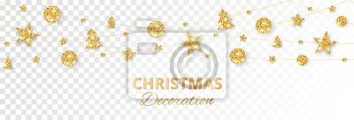 Fototapete Christmas golden decoration isolated on white background. Holiday vector frame, border.