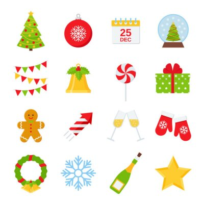 Christmas icons. Vector. Christmas decorations in flat design isolated on white background. Winter icon set. Cartoon colorful illustration. Cute collection holiday red green symbols.