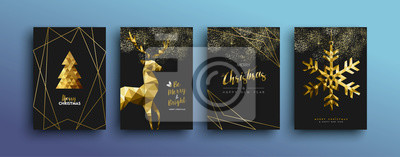 Fototapete Christmas luxury gold greeting card collection
