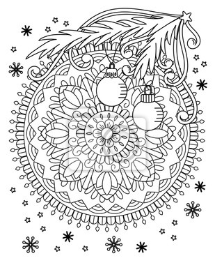 Fototapete: Christmas mandala coloring page. adult coloring book. holiday