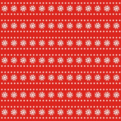 Fototapete Christmas pattern on red background. Scandinavian sweater style. Xmas background with snowflakes. Design for textile, wallpaper, web, fabric and decor etc.