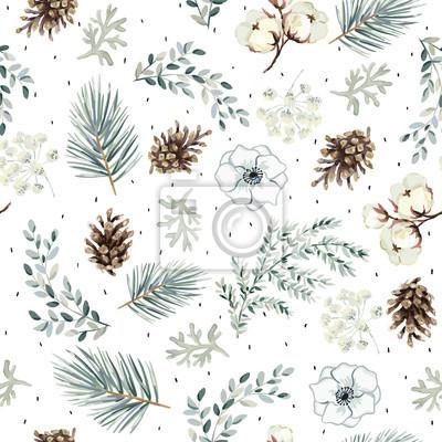 Fototapete Christmas seamless pattern, cones, flowers, green pine twigs, white background. Vector illustration. Nature design. Season greeting. Winter Xmas holidays