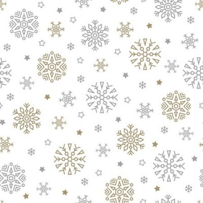 Fototapete Christmas seamless pattern with snowflakes and stars on white background. Vector illustration. New Year background. For web, wrapping paper, scrapbooking, for printing on textile, crockery, package.