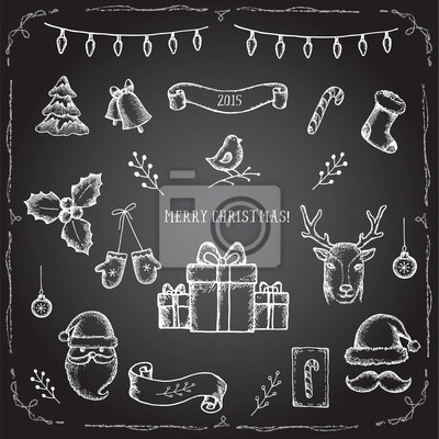Christmas set of decorative elements