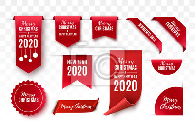 Fototapete Christmas Tags set. Red scrolls and banners isolated. Merry Christmas and Happy New Year labels. Vector illustration