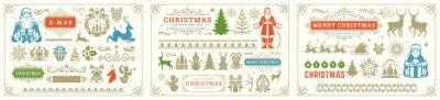 Fototapete Christmas vector decoration elements with ornate vignettes and symbols set.