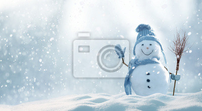 Fototapete Christmas winter background with snow and blurred bokeh.Merry christmas and happy new year greeting card with copy-space.