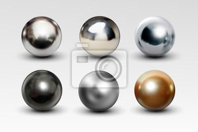 Fototapete Chrome-Ballsatz realistisch lokalisiert auf weißem Hintergrund