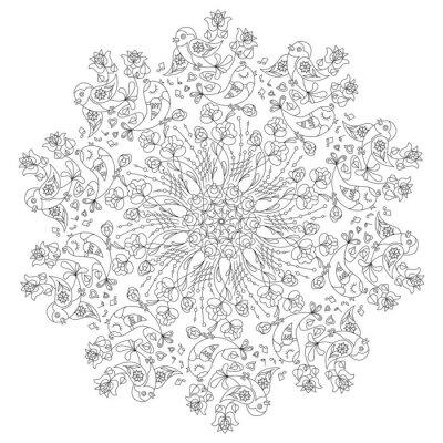 Fototapete Circular Muster mit Vögeln und Blumen in Doodle-Stil