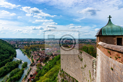 Fototapete Citadel in Besancon and River Doubs at Bourgogne Franche-Comte region of France. French Castle and medieval stone fortress in Burgundy. Fortress architecture and landscape. View from tower