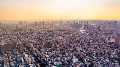 Fototapete Citiscape von Tokyo bei Sonnenuntergang, Japan